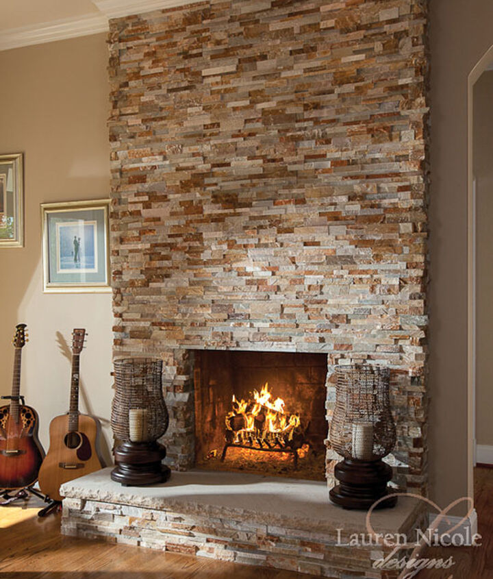 We converted the wood burning fireplace to gas for ease of use. And we tiled over the older and traditional stone facade that was there when my clients moved in.