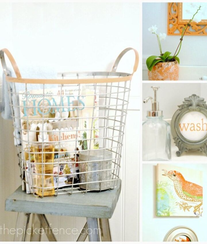 Fun accessories add warmth to a powder room but are easy to change out when you're ready for a fresh look.