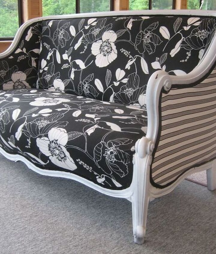 a beautiful antique sofa reupholstered what an updated look, painted furniture, reupholster