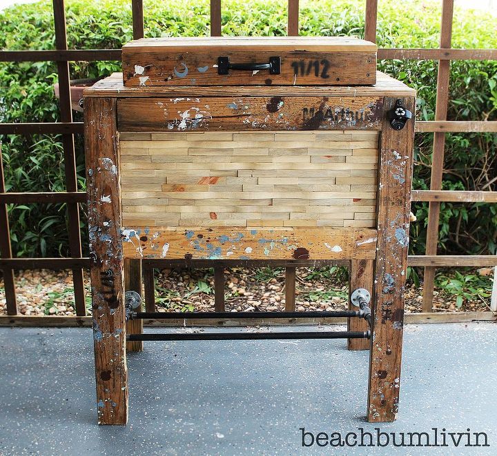 rustic cooler box made from