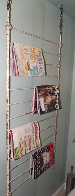 unique hanging magazine rack, repurposing upcycling