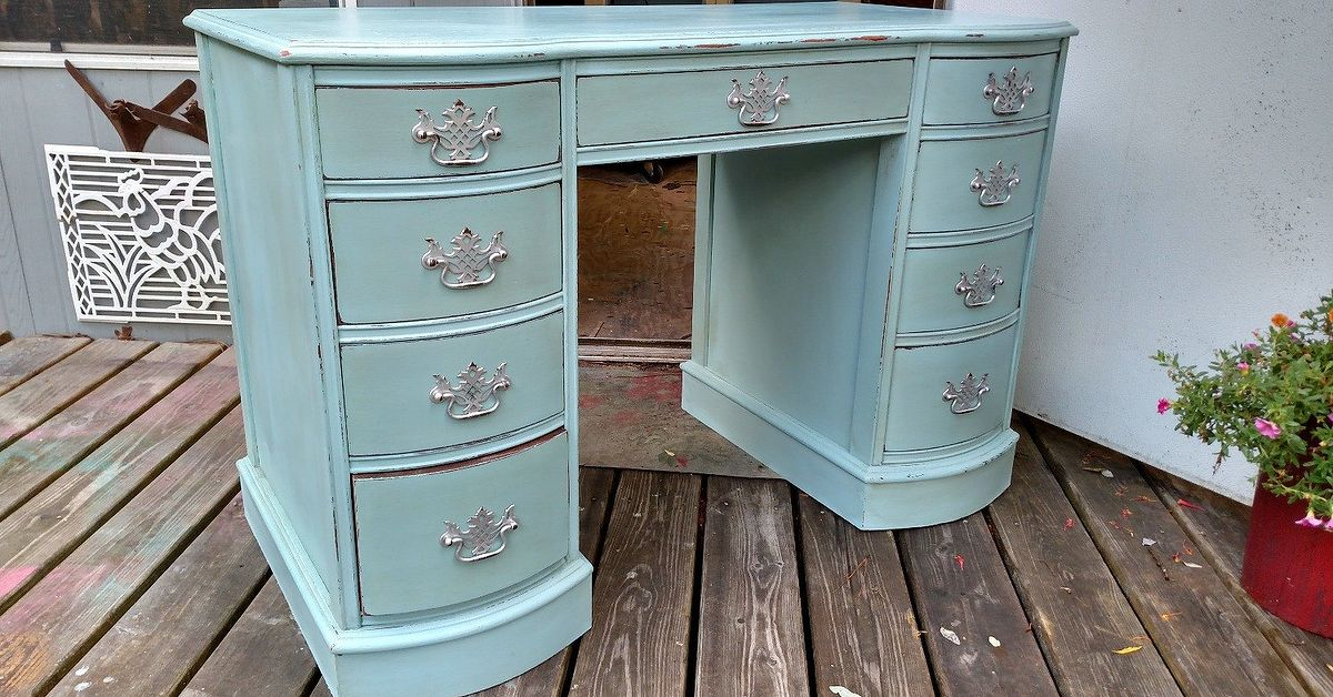 desk used as vanity.  French Influence Lady s Writing Desk or Vanity Hometalk