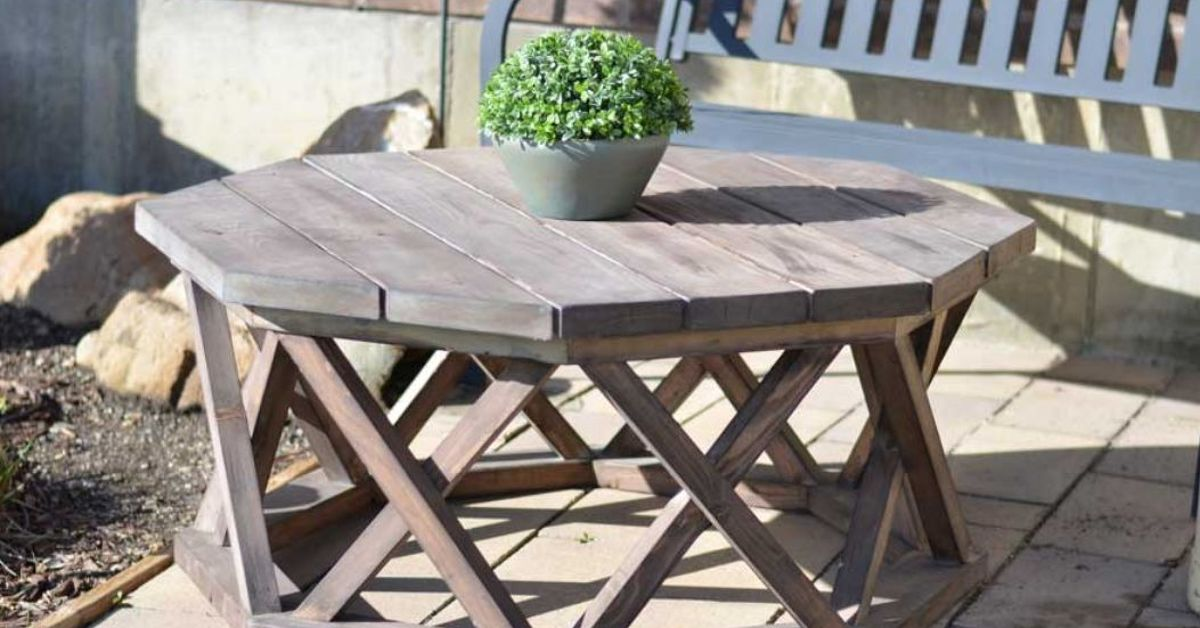 DIY Octagon Patio Or Coffee Table Hometalk - Pentagon picnic table