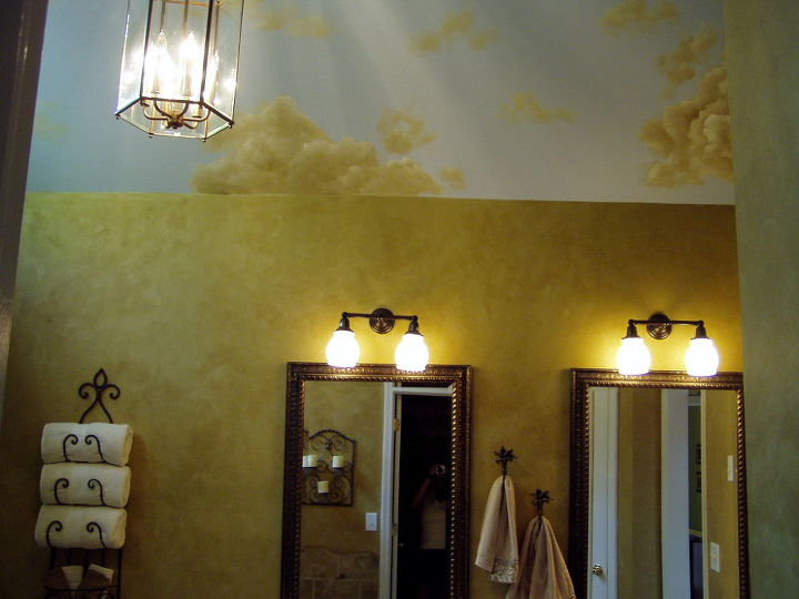 sharing the process of my own master bath remodel my husband is a jack of all, bathroom ideas, bedroom ideas, home decor, home improvement, tiling, BEFORE vanities rec d upgrade of new mirrors lights a few years back