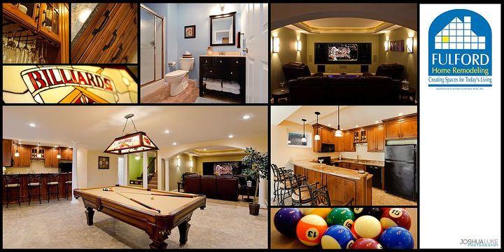 basement finish in belleville il, basement ideas, entertainment rec rooms, home decor, Multi view of the basement finish