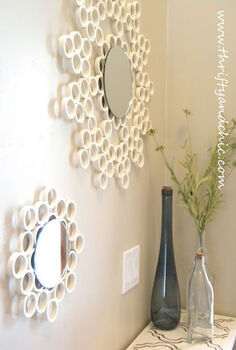 pvc pipe mirror, bedroom ideas, diy, repurposing upcycling, I cut the pvc pipe into about half inch wide circles and glued them together