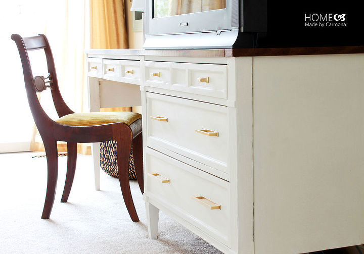 dressing table turned tv console, chalk paint, painted furniture