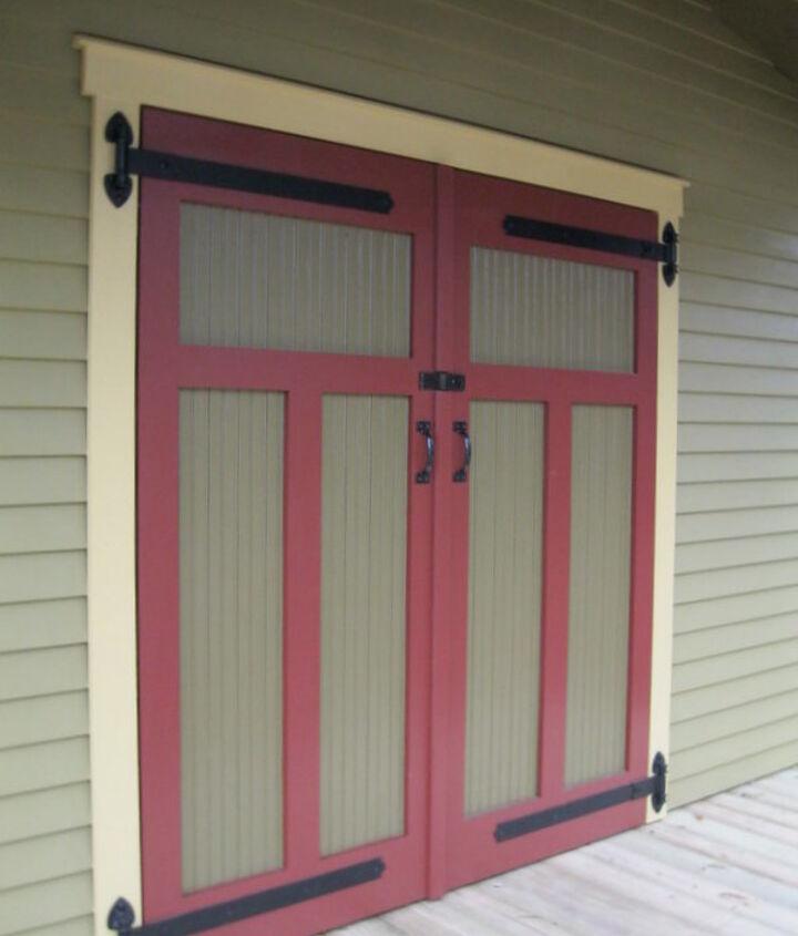 Cypress bead board shed doors