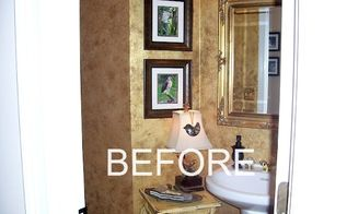 powder room makeover, bathroom ideas, home decor, This is the very dated before This room actually had blue striped wallpaper when we built the house and then I did this faux treatment on the walls when it was all the rage