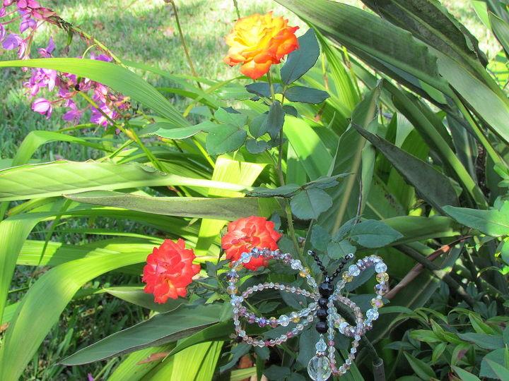 crystal butterfly garden stake, crafts, gardening
