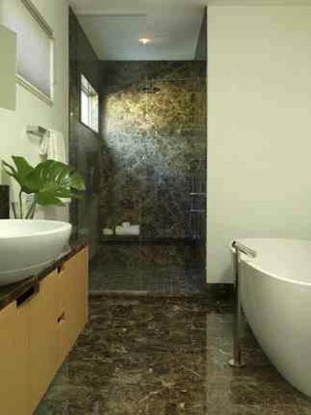 Renovated, reconfigured Master Bathroom.