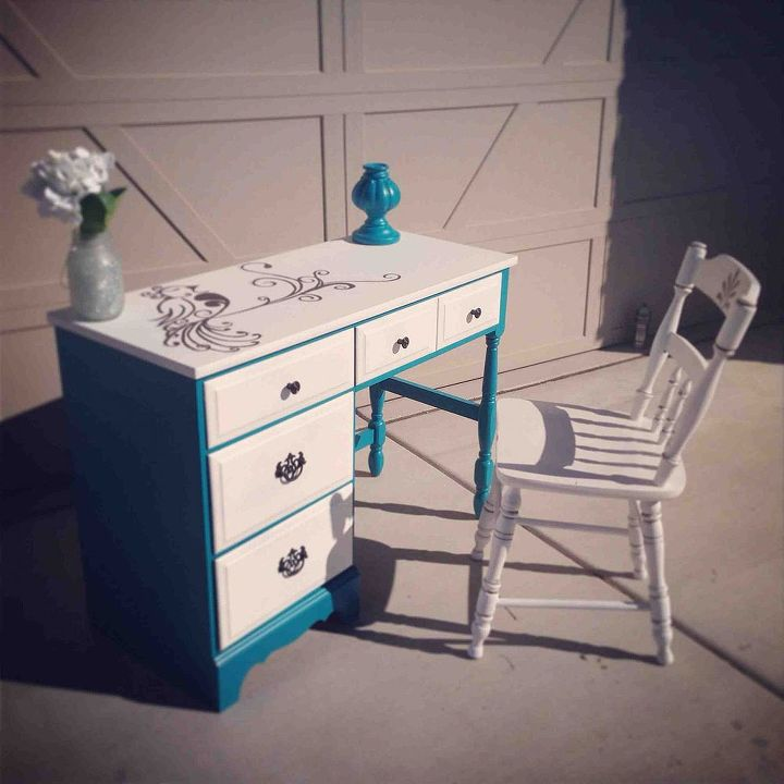 refurbished desk before after, painted furniture, Free handed bird painting on a desk re done