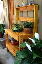 diy potting tables and benches, diy, gardening, outdoor furniture, outdoor living, painted furniture, pallet, rustic furniture, Pretty Yellow