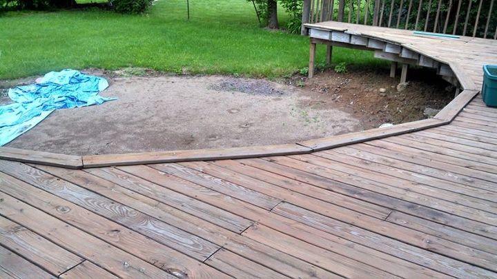 deck haflway around a swimming pool, decks, landscape, pool designs