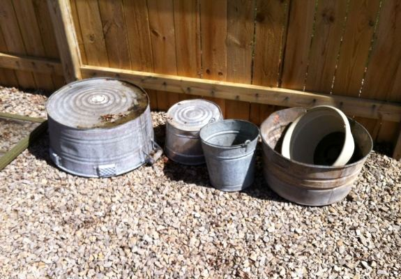 Galvanized tubs and buckets needed and one other thing ....a metal conduit pipe