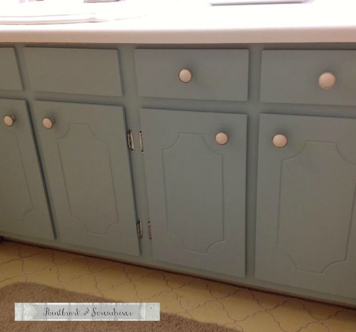 """Vanity painted with """"Blue Willow"""" by Pittsburgh Paints."""