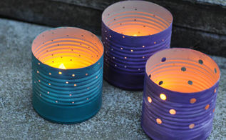 upcycled tin can luminaries, crafts, decoupage, repurposing upcycling
