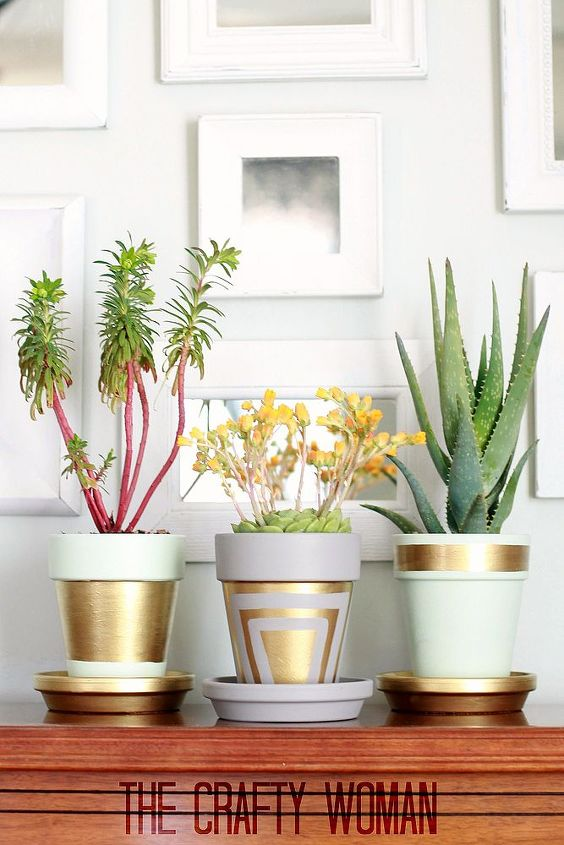 terra cotta pots with gold leafing, crafts, gardening, home decor, painting, succulents, Using matte paint helps make the gold leafing pop all the more
