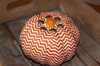 chevron fabric pumpkin, crafts, decoupage