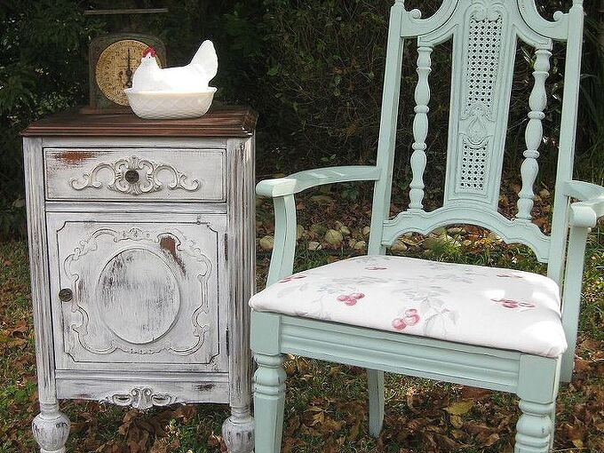 vintage furniture makovers, chalk paint, painted furniture, Antique Nightstand and Retro Chair