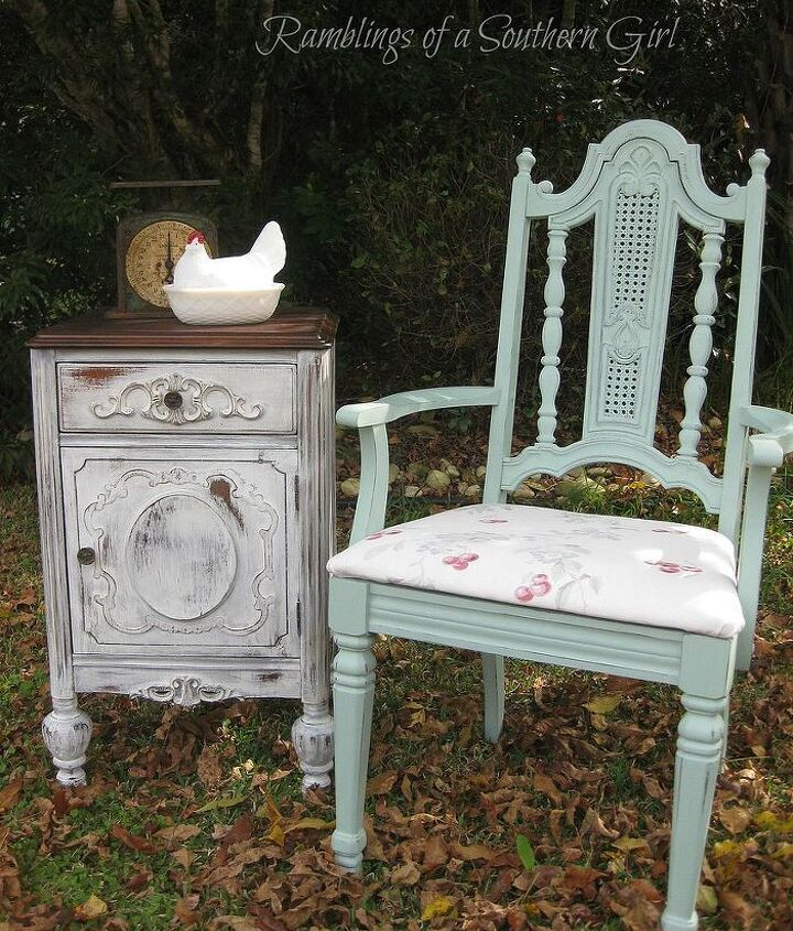 Antique Nightstand and Retro Chair...