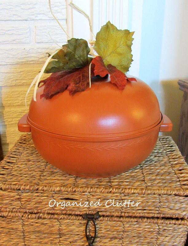 a vintage bun warmer repurposed as a pumpkin, repurposing upcycling, seasonal holiday decor, The bun warmer pumpkin