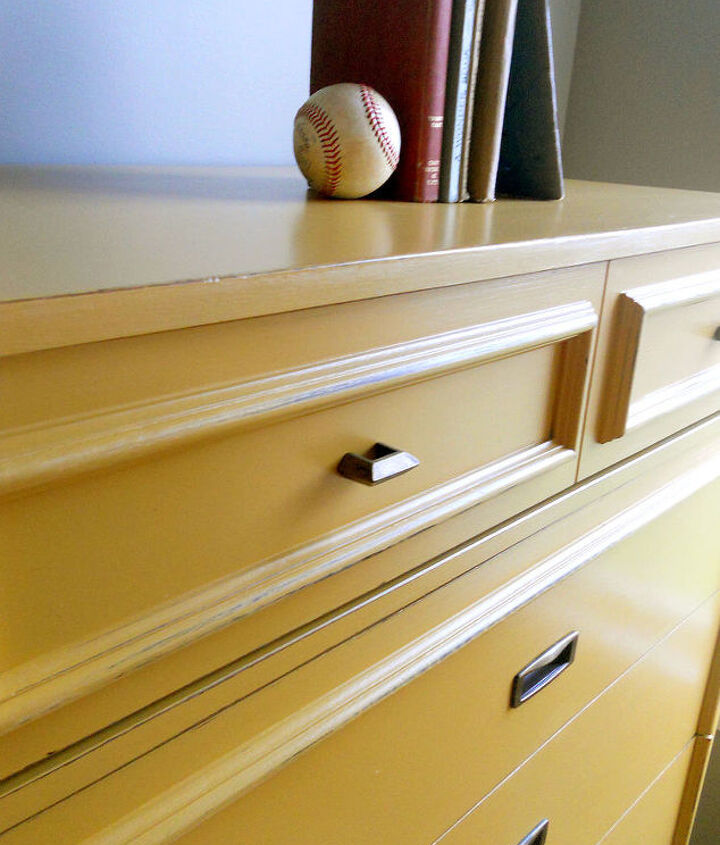just the right shade of yellow, painted furniture