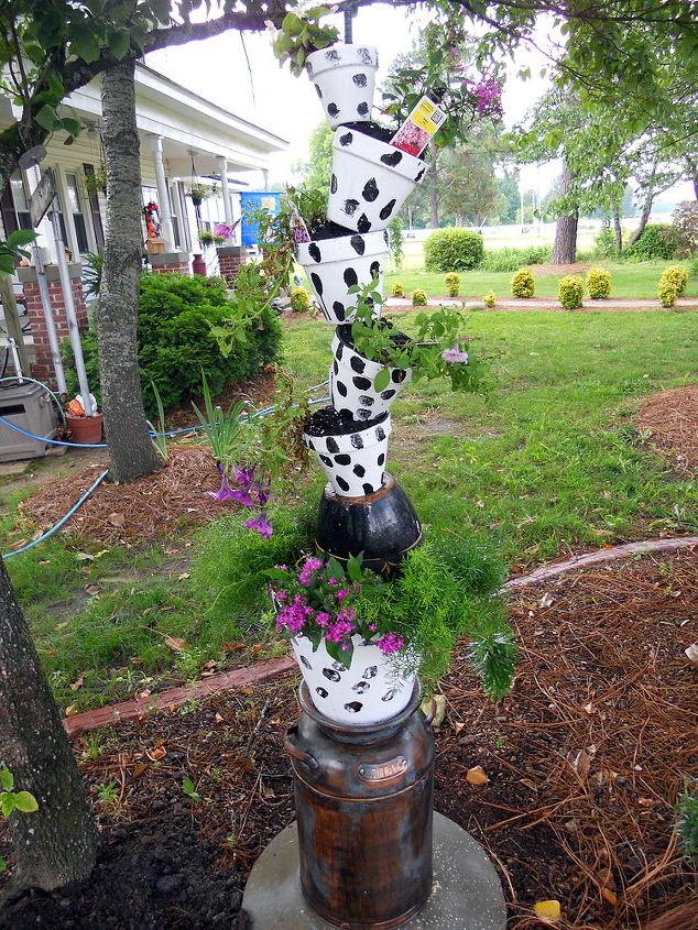 got milk or better yet got flowers, flowers, gardening, Milk Can Cow Themed Planter