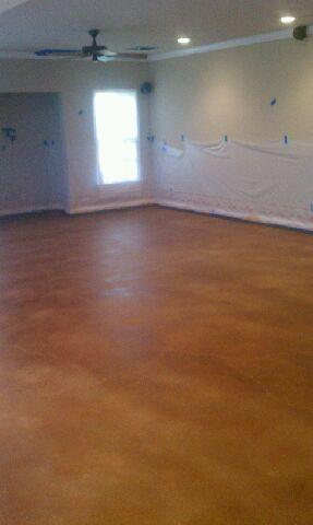 q our team just completed laying stain for a basement in milton its a green project, flooring, garages, painting, The color used in this project was Cola Primarily brown with some red highlights