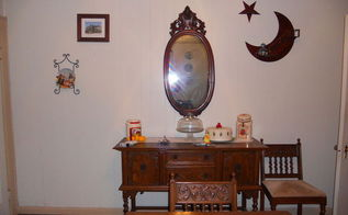 antique mahogany mirror, painted furniture, The mirror sits over a Victorian sideboard The moon and the star to the right of the mirror was made by my father in 1940