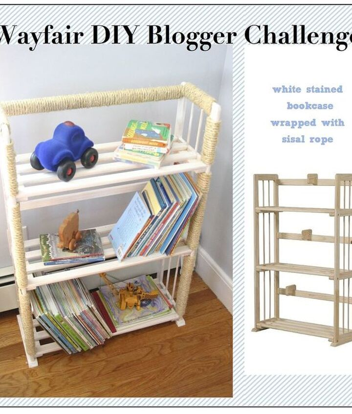 Wayfair and Hometalk teamed up for a challenge. I chose to apply a white wash stain and then wrap this bookshelf with sisal rope.