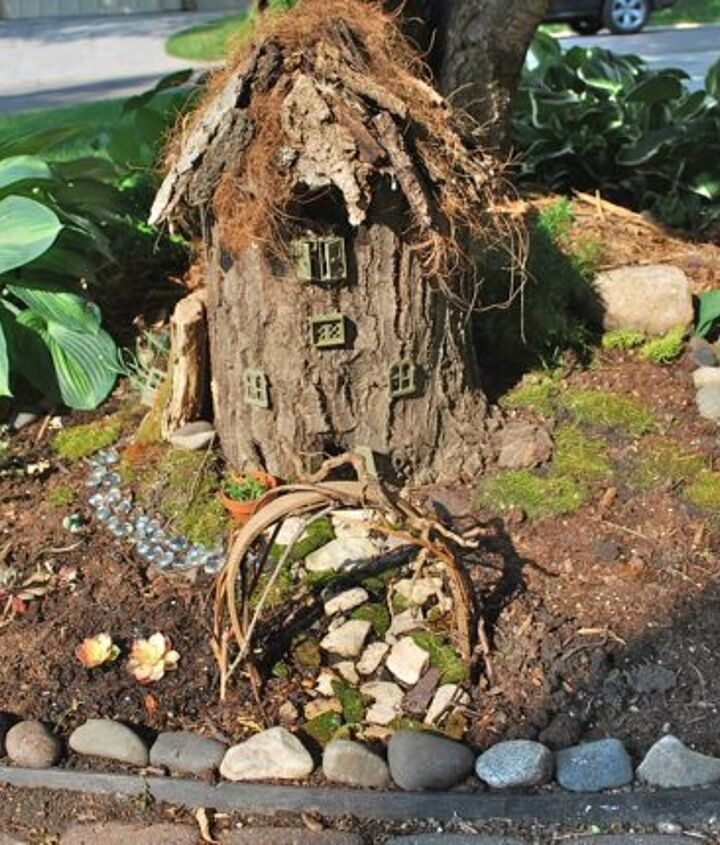 you can make a fairy garden cottage out of a stump, crafts, gardening