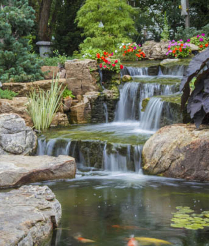 Waterfalls provide soothing sounds in the garden.