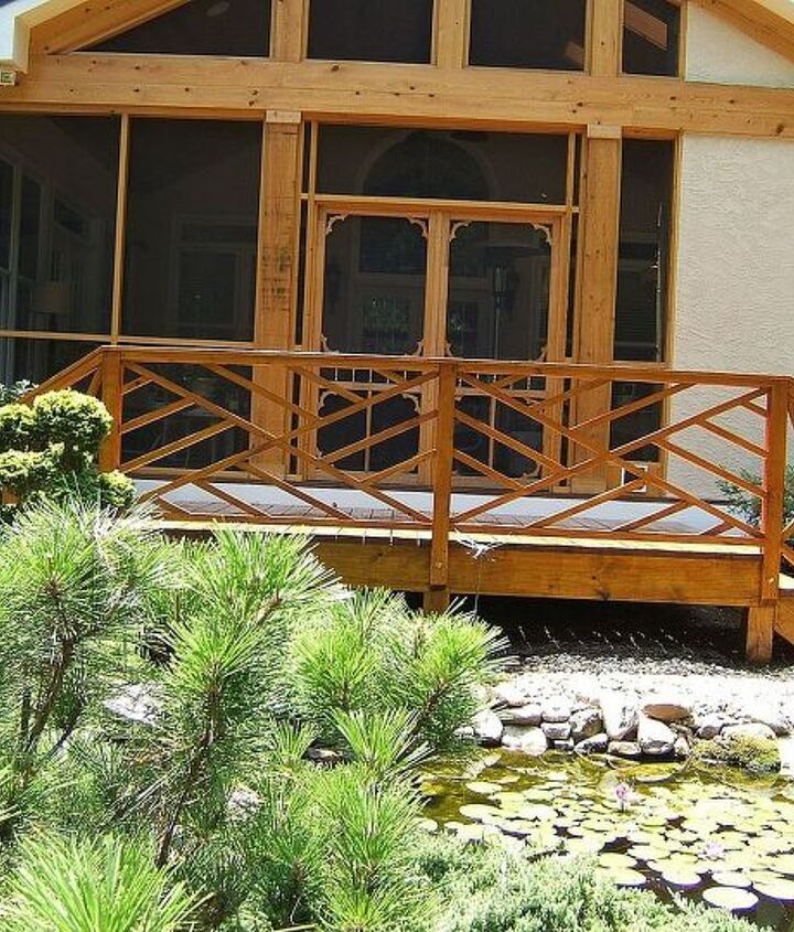 The stain color is Natural Oak. It matches the cypress water treated wood well that forms the screened porch.