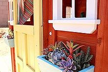 succulent window boxes, flowers, gardening, outdoor living, succulents, Bright and colorful succulents brighten up this little playhouse AugustGarden