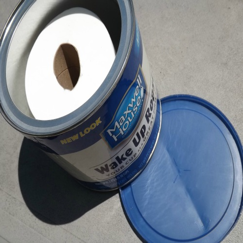 Use a Coffee Can to Keep Toilet Paper Dry