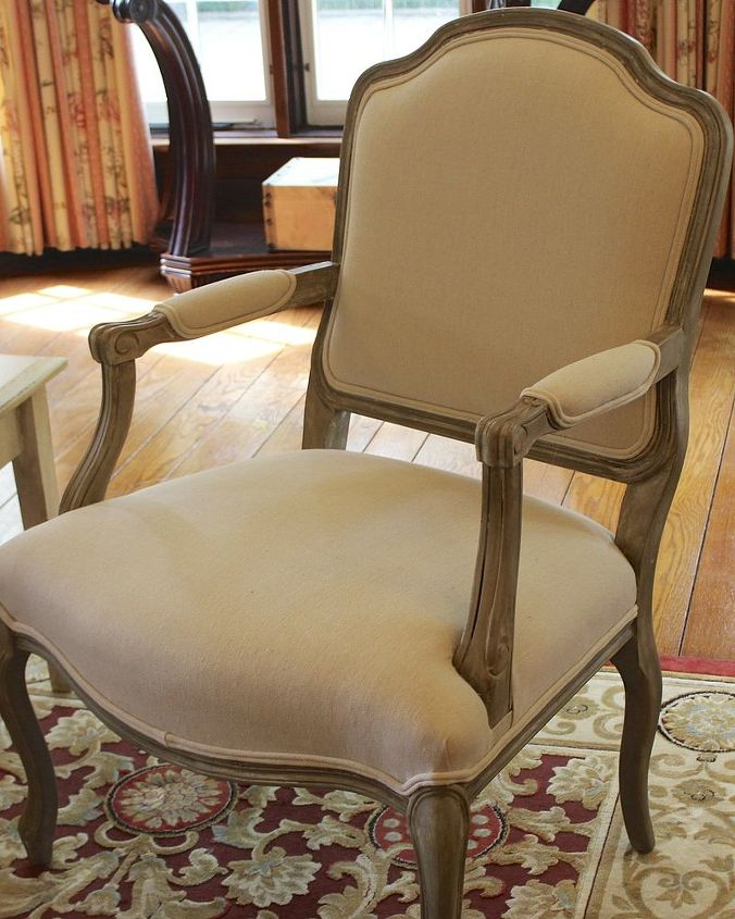Drop cloth was used to reupholster the seat and arms.