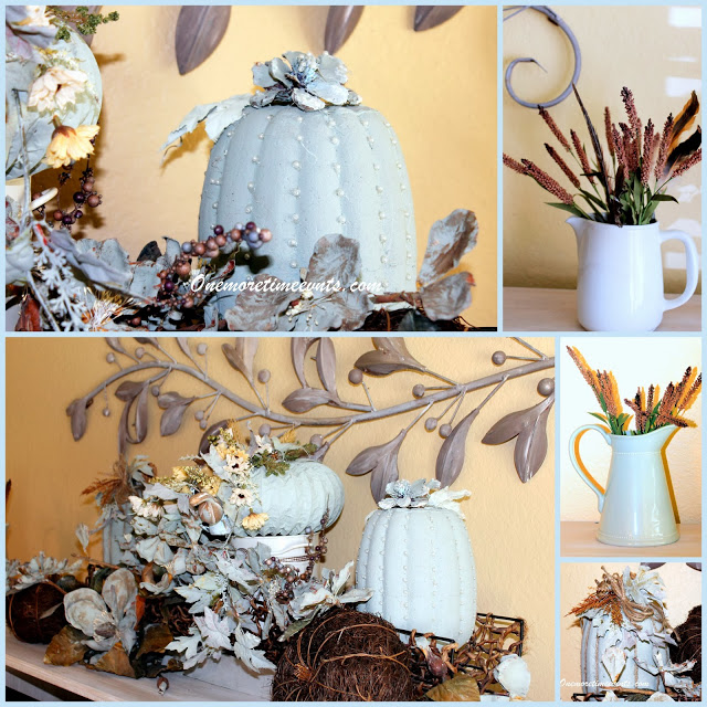 fall decorations with blue pumpkins, seasonal holiday d cor, Dryer hose pumpkins and Target dollar pumpkins painted and embellished with chalk painted pinecone flowers and pearls and one embellished with Hemp cording