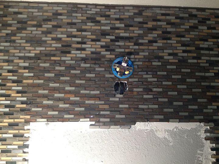 mosaic tile wall, bathroom ideas, painting, tiling, wall decor