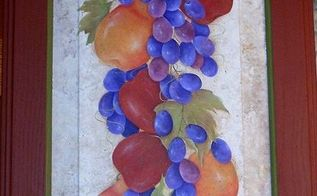 cabinet door painting, crafts, kitchen cabinets, painting, Fruit Cluster by GranArt acrylic painting on a cabinet door