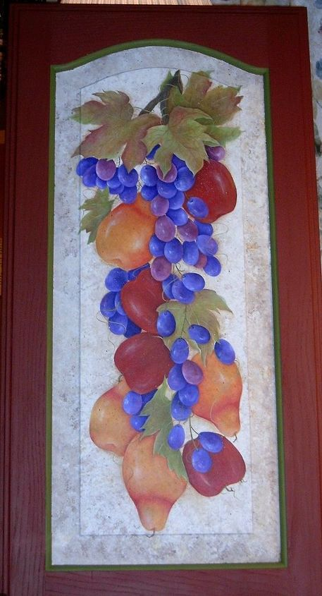 Fruit Cluster by GranArt, acrylic painting on a cabinet door.
