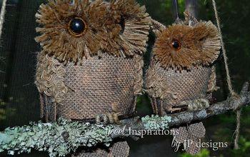 Burlap Owls on a Lichen Branch Swing