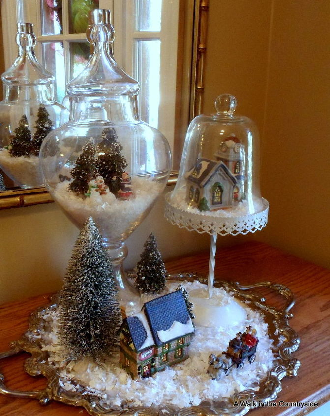 Christmas village on silver tray