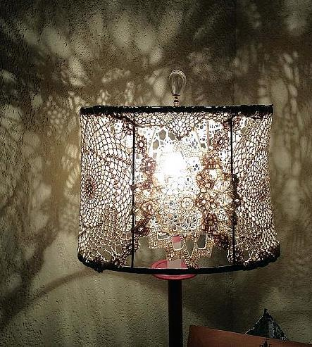 Was inspired by someone here on Home Talk. My lamp needed a make over.  I love the effects of doily on the walls when it's lite.