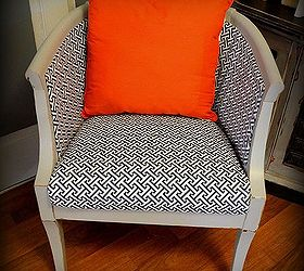 Delightful Damaged Cane Chair Gets Fabric Makeover How To Pics, Painted Furniture,  Reupholster, Vintage