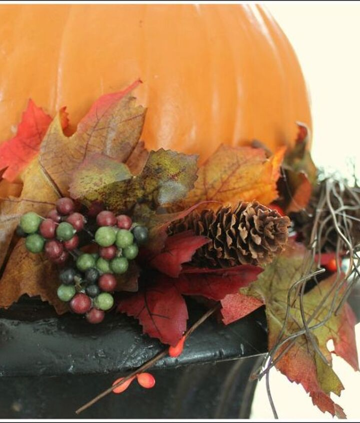 pumpkin topiary fall decorating ideas, container gardening, crafts, gardening, seasonal holiday decor, Add some fall florals under the bottom pumpkin Attach with hot glue