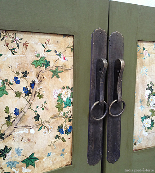 diy cabinet makeover from danish modern to antique chinese, kitchen cabinets, painted furniture, Adding Chinese hardware is key to getting the look
