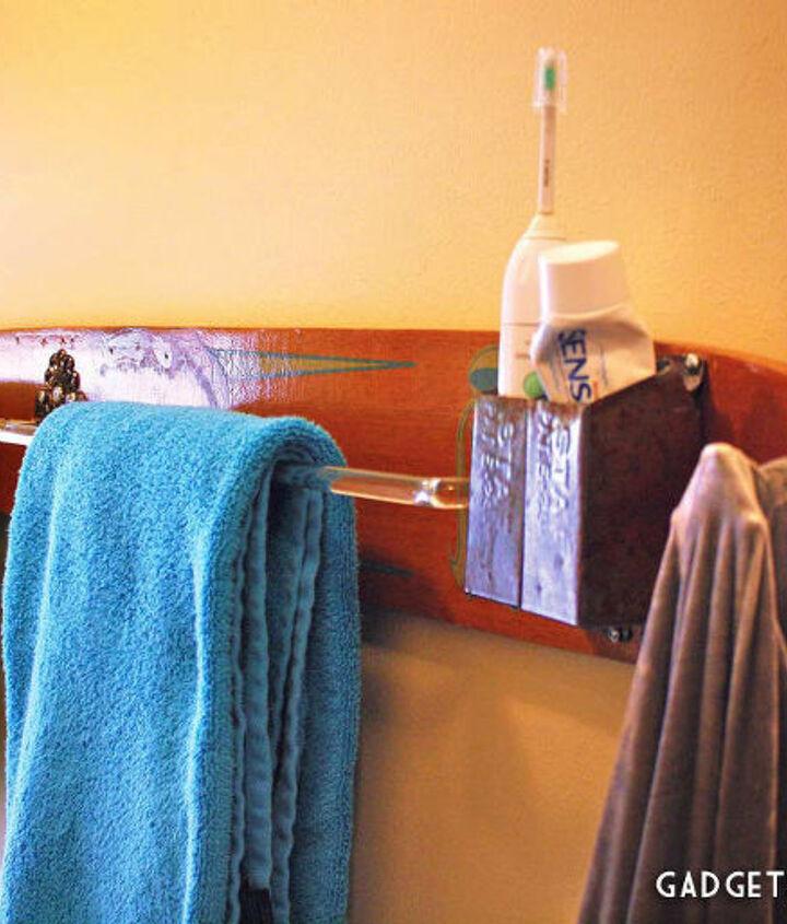 Repurposed / Upcycled Vintage Water Ski Towel & Robe Rack by GadgetSponge.com
