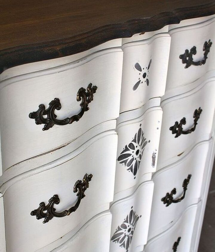 Stained top in dark walnut with ASCP in Old white and stencils...