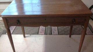 q how do i restore antique box table trunk hutch amp dresser that i inherited from, painted furniture, Antique Writing Desk